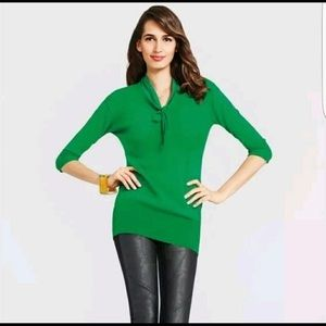 CAbi Lucky Green Bow Pullover Top